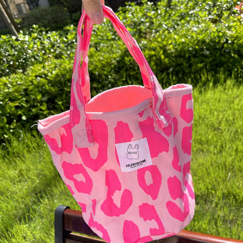 粉红色帆布包 21新款东e大门韩版粉红色豹纹包大容量托特包帆布包女手提包_推荐淘宝好看的粉红色帆布包
