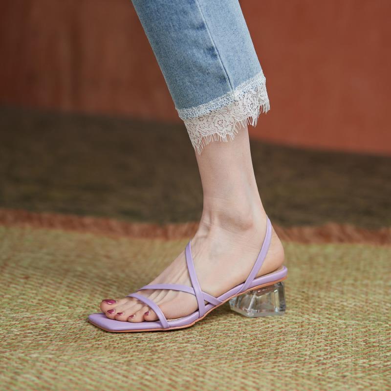 紫色罗马鞋 紫色方头粗跟凉鞋女夏季中跟法式仙女风真皮女鞋一字带高跟罗马鞋_推荐淘宝好看的紫色罗马鞋