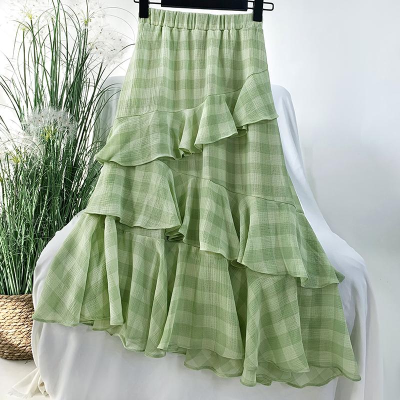 绿色雪纺半身裙搭配 清新绿色格子雪纺蛋糕半身裙女中长款森系甜美荷叶边不规则裙子_推荐淘宝好看的绿色雪纺半身裙