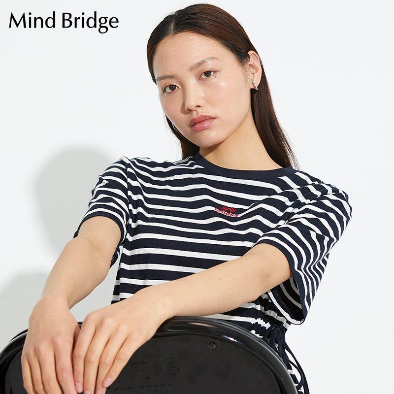 百家好T恤 MindBridge百家好女士T恤2020新款圆领条纹不规则设计MUTS321D_推荐淘宝好看的百家好T恤女