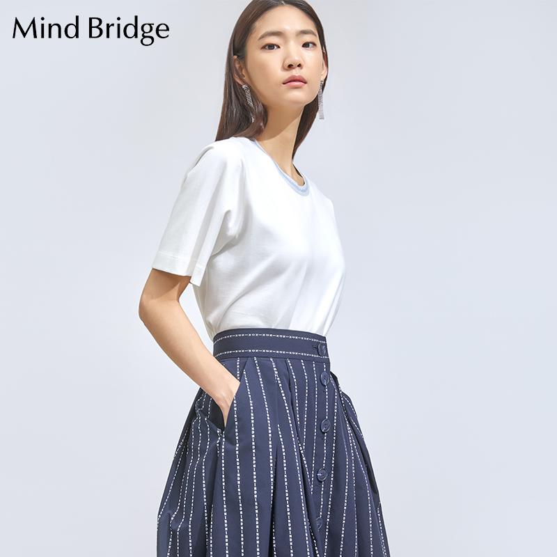 百家好T恤 MindBridge短袖T恤衫百家好女装夏季新款女士韩版上衣MTTS321E_推荐淘宝好看的百家好T恤女