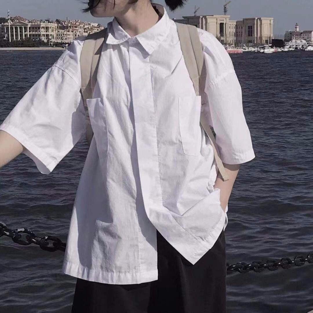 女士长款衬衫 白色短袖衬衫女学生韩版宽松夏季中长款bf日系ins衬衣外套女上衣_推荐淘宝好看的女长款衬衫