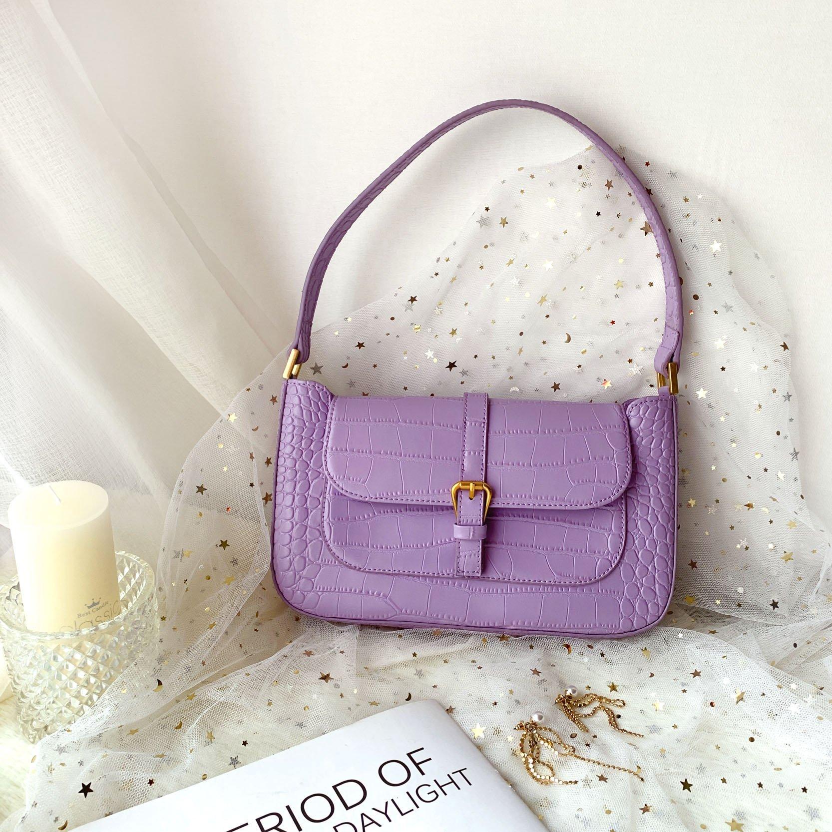 紫色信封包 腋下包女夏高级感洋气质感小包信封vintage单肩包手提紫色法棍包_推荐淘宝好看的紫色信封包