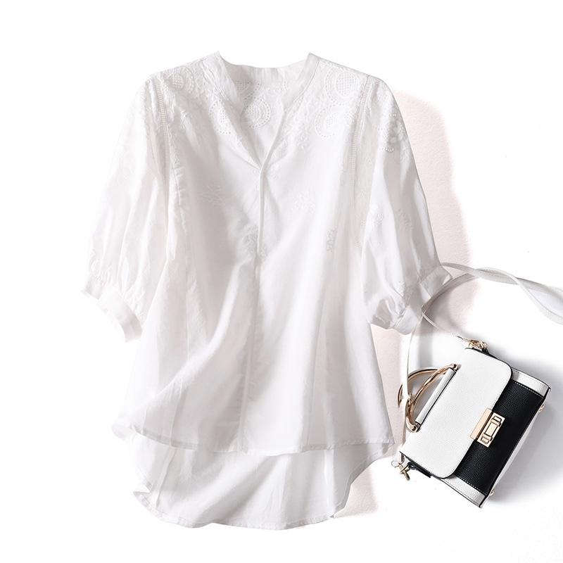 女士短袖衬衣 舒适全棉白色衬衫女夏新款韩版百搭清新气质刺绣衬衣短袖t恤上衣_推荐淘宝好看的女短袖衬衣