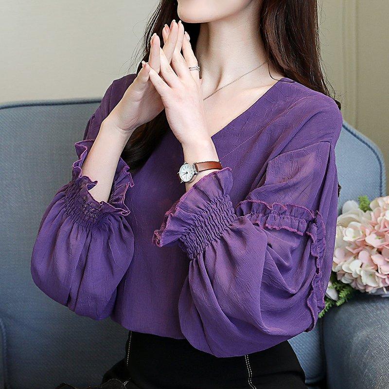 女士长袖雪纺衫 娜娜女士2021夏装超仙飘逸洋气小心领紫色上衣女灯笼袖长袖雪纺衫_推荐淘宝好看的女士长袖雪纺衫
