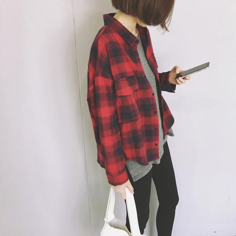 红格子衬衫 春季韩版韩范chic红黑长袖小清新学生格子衬衫外套女薄社会宽松bf_推荐淘宝好看的女红格子衬衫