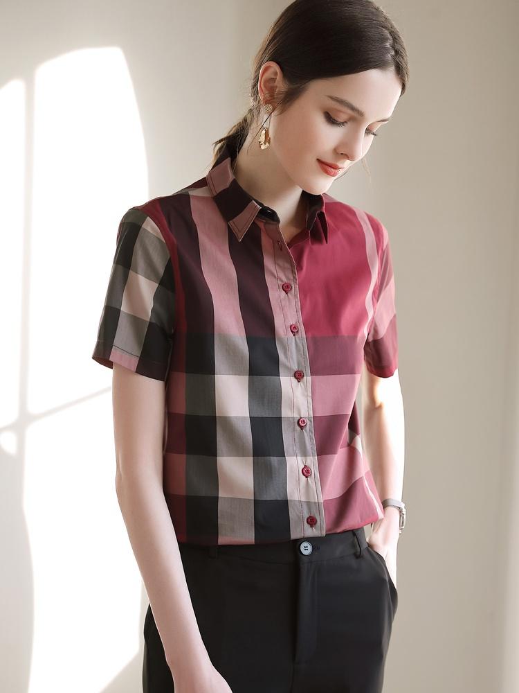 红色格子衬衫 红色格子衬衫女短袖设计感小众衬衣时尚上衣2021夏季气质宽松短款_推荐淘宝好看的女红色格子衬衫