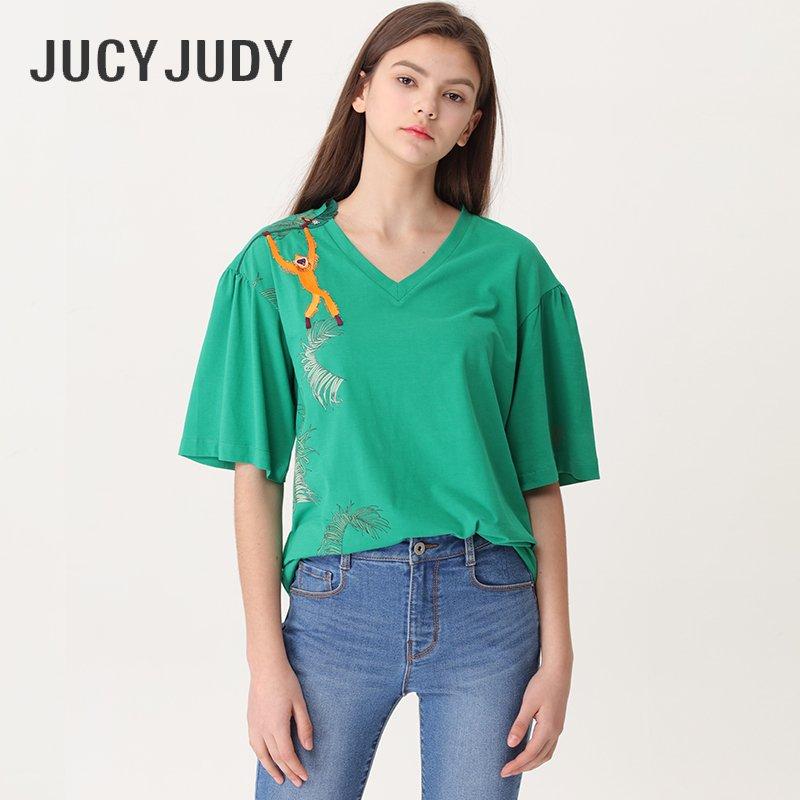 百家好T恤 JucyJudy百家好夏季商场同款V领刺绣宽松短袖T恤女韩版JUTS421K_推荐淘宝好看的百家好T恤女