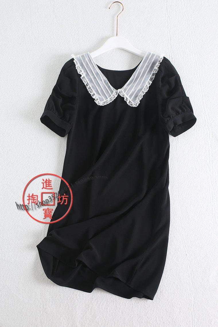 黑色蕾丝连衣裙 064C 0723DM 优雅大方撞色蕾丝花边雪纺翻领黑色中长款短袖连衣裙_推荐淘宝好看的黑色蕾丝连衣裙