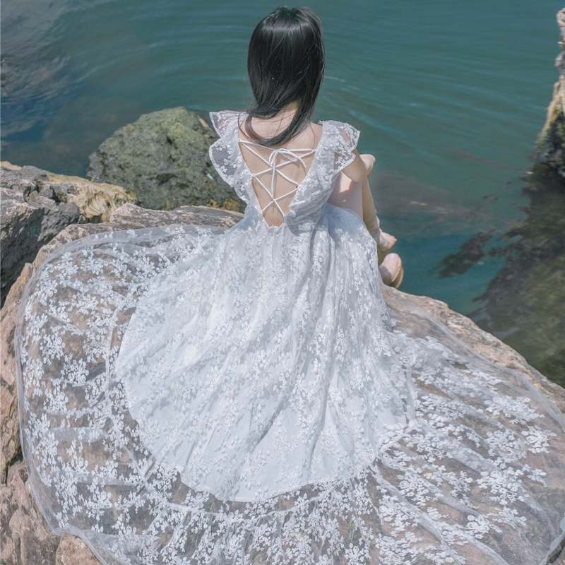 白色蕾丝连衣裙 夏季新品白色一字领露肩仙女蕾丝连衣裙波西米亚海边度假沙滩长裙_推荐淘宝好看的白色蕾丝连衣裙