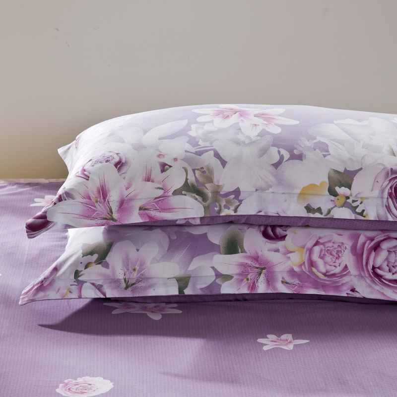 紫色信封包 纯棉枕套一对装紫色成人单人加厚大号74x48印花信封枕套aB版包。_推荐淘宝好看的紫色信封包