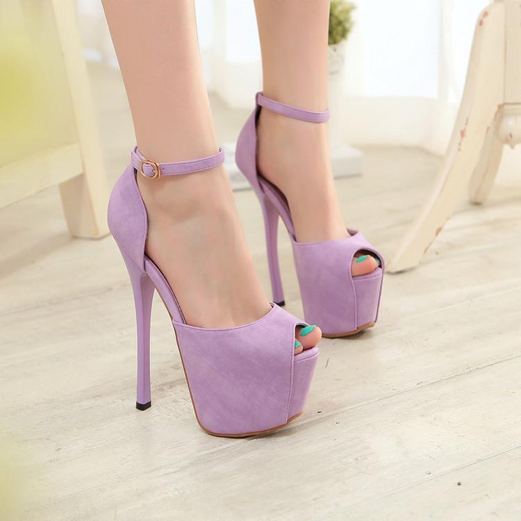 粉红色鱼嘴鞋 性感情趣超高细跟粉红防水台鱼嘴鞋绿色婚鞋一字式扣带包跟凉鞋紫_推荐淘宝好看的粉红色鱼嘴鞋