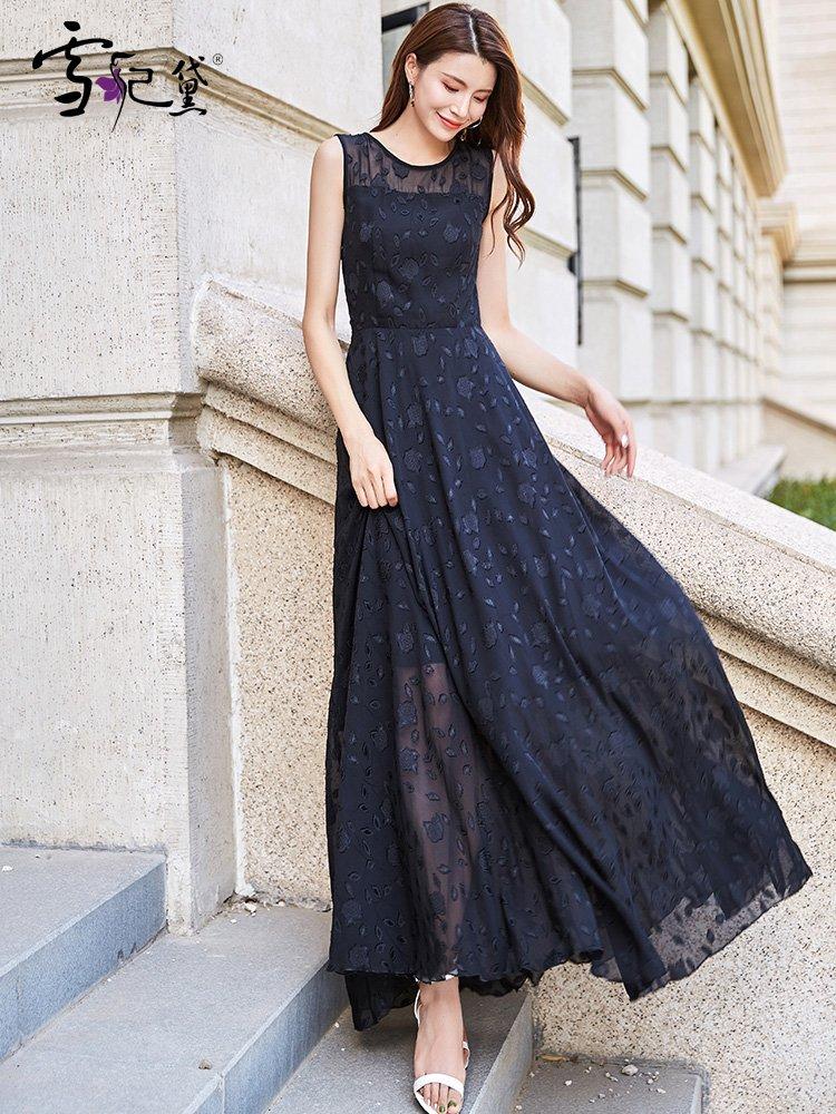 黑色蕾丝连衣裙 雪纺连衣裙2021新款夏长款到脚踝收腰显瘦气质夏季黑色蕾丝长裙女_推荐淘宝好看的黑色蕾丝连衣裙