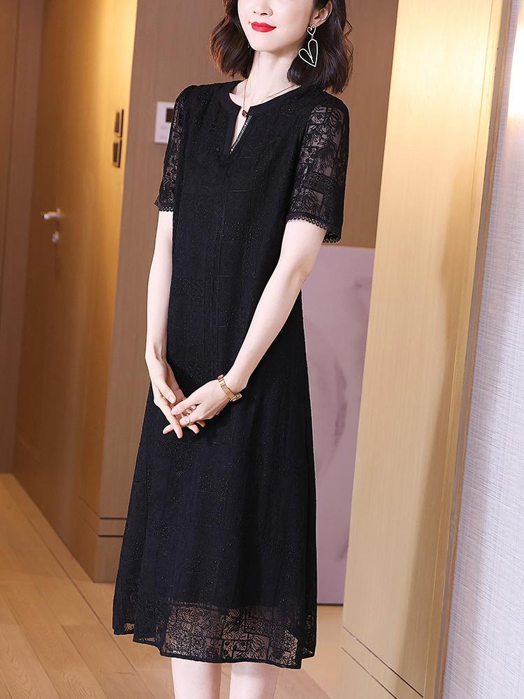 黑色蕾丝连衣裙 真丝短袖连衣裙2021夏季新款黑色蕾丝桑蚕丝宽松小个子中长款裙子_推荐淘宝好看的黑色蕾丝连衣裙