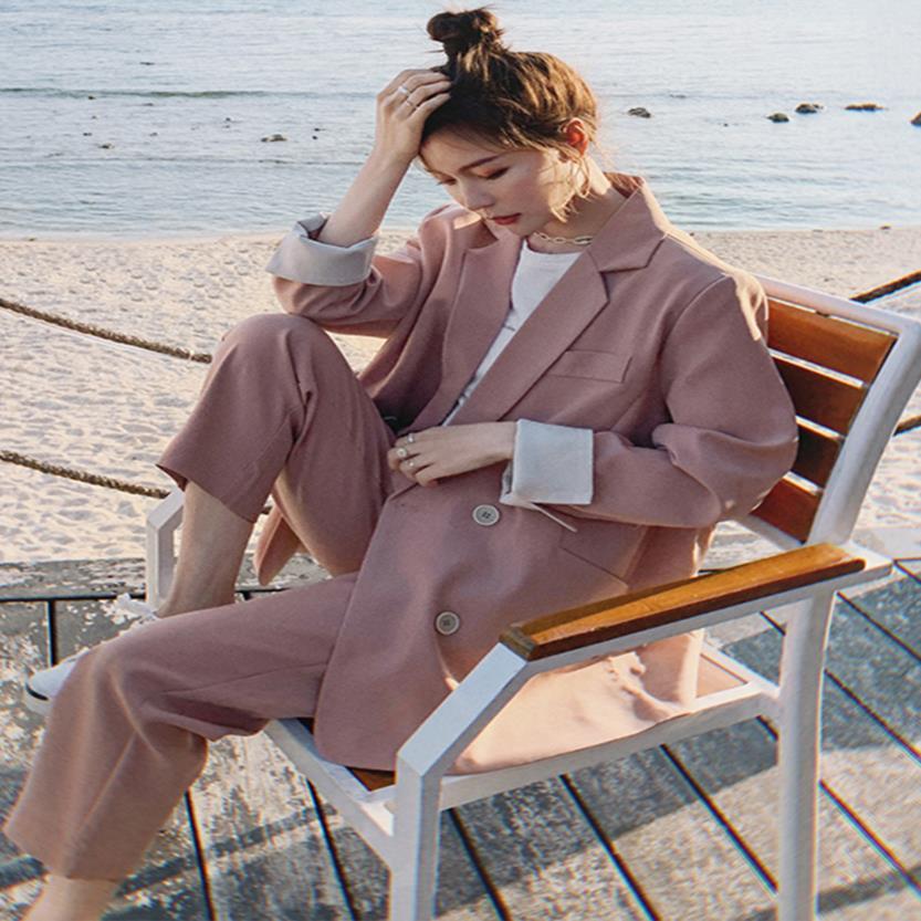 粉红色小西装 粉红色西装外套女设计感小众韩版春秋高级感套装炸街小西服两件套_推荐淘宝好看的粉红色小西装