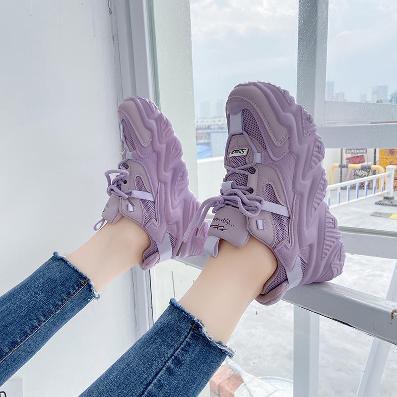 紫色厚底鞋 老爹鞋女夏2021年新款网红透气厚底百搭春季紫色运动鞋休闲ins潮_推荐淘宝好看的紫色厚底鞋