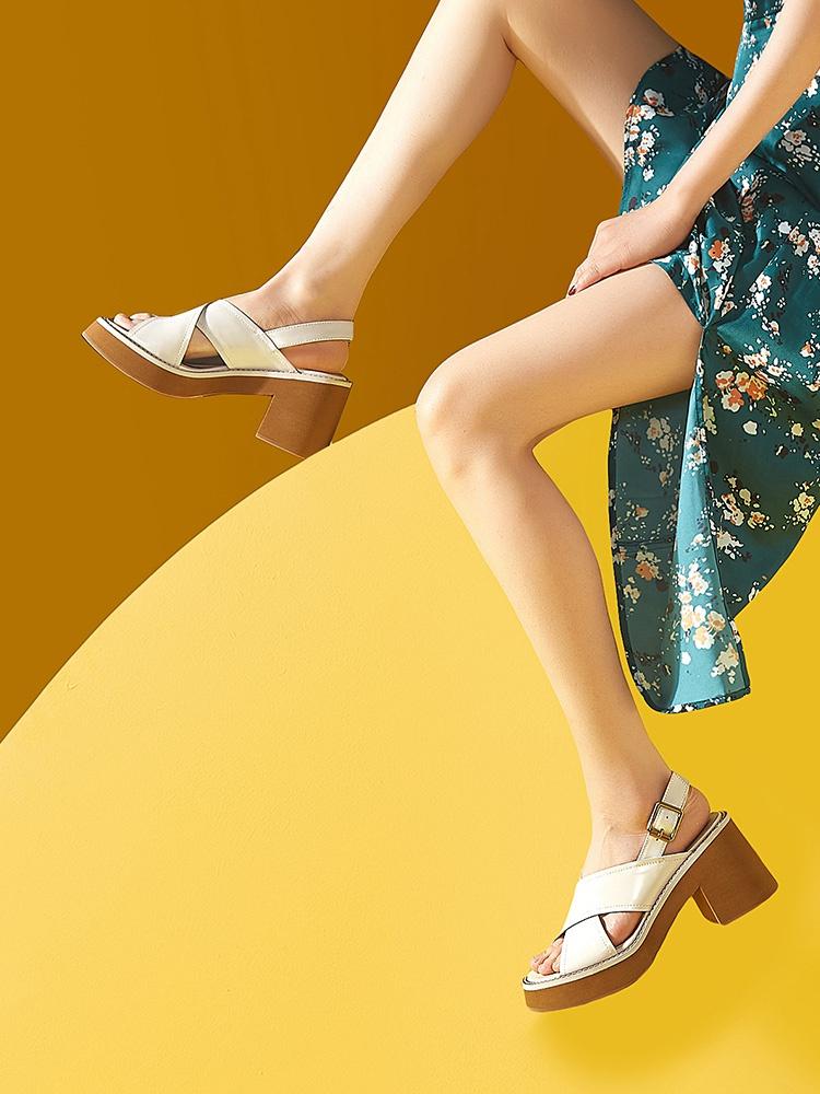 罗马坡跟鞋 新款厚底凉鞋女c粗跟百搭2021年夏欧美坡跟罗马真皮鞋子高跟鞋白_推荐淘宝好看的罗马坡跟鞋