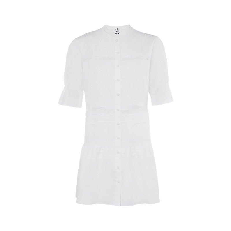 白色蕾丝连衣裙 SIRTheLabel白色棉质蕾丝装饰设计时尚复古女士短袖连衣裙_推荐淘宝好看的白色蕾丝连衣裙