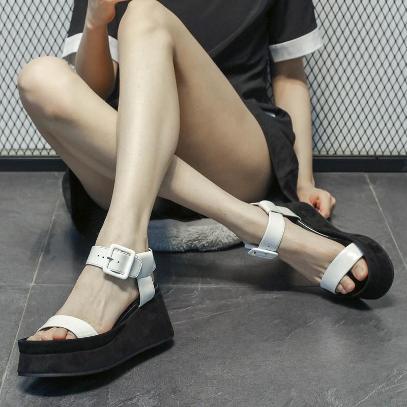 真皮罗马鞋 欧洲站女鞋2021夏季新款真皮厚底松糕一字扣高跟凉鞋女坡跟罗马鞋_推荐淘宝好看的真皮罗马鞋