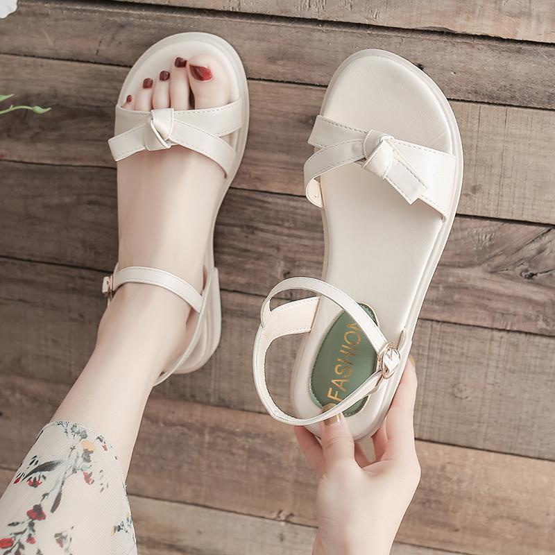 绿色罗马鞋 L罗马凉鞋女2021年新款夏季简约绿色小清L新配裙子森系一字扣平底_推荐淘宝好看的绿色罗马鞋