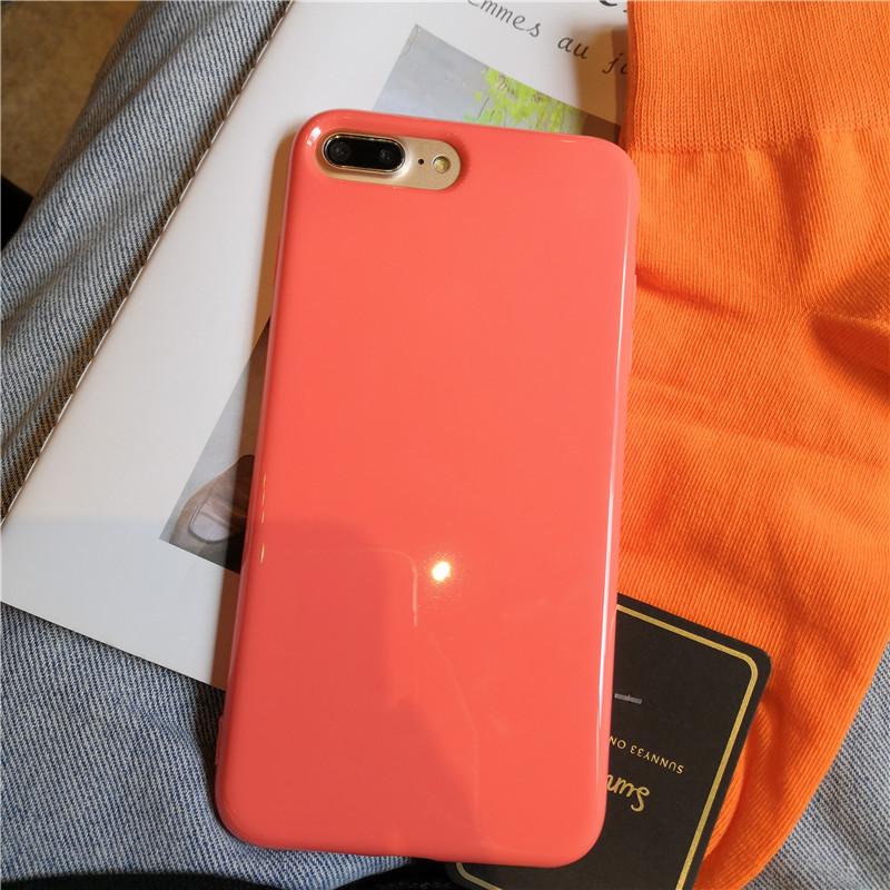 糖果包 糖果色珊瑚橘粉色iPhone11ProMax手机壳678pXR光面软壳全包女x12_推荐淘宝好看的女糖果包