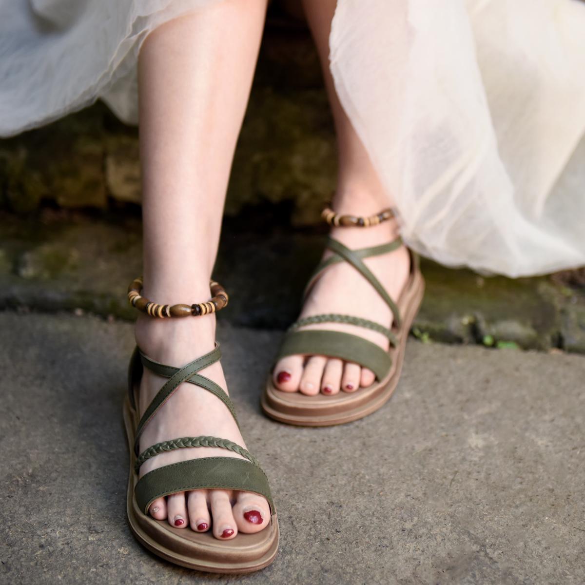 坡跟罗马鞋 Artmu阿木原创厚底罗马凉鞋波西米亚风真皮凉鞋民族风坡跟鞋新款_推荐淘宝好看的坡跟罗马鞋