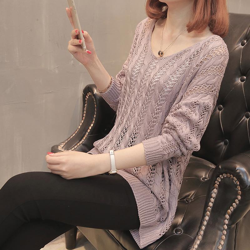 镂空针织衫罩衫 网衫女宽松后背系带上衣短款2021春夏新款薄洞洞毛衣镂空针织罩衫_推荐淘宝好看的镂空针织衫罩衫