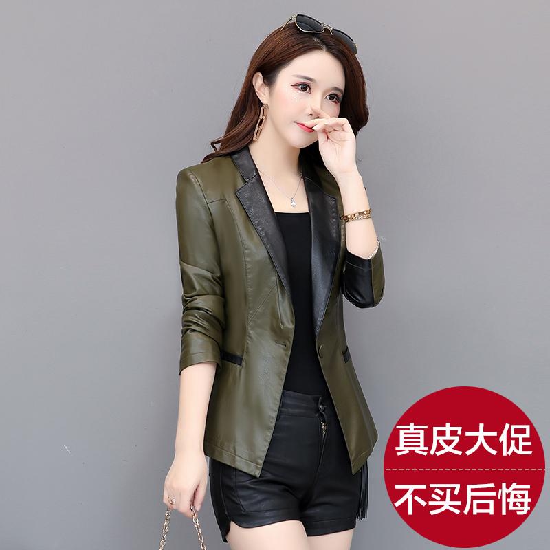 绿色皮衣 2020春秋新款海宁真皮皮衣女短款韩版修身西装领小皮夹克大码外套_推荐淘宝好看的绿色皮衣
