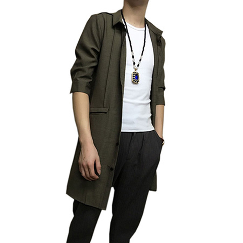 男士修身风衣 夏季薄款男士风衣修身韩版中长款棉麻衬衫外套青年中袖发型师潮服_推荐淘宝好看的男修身风衣