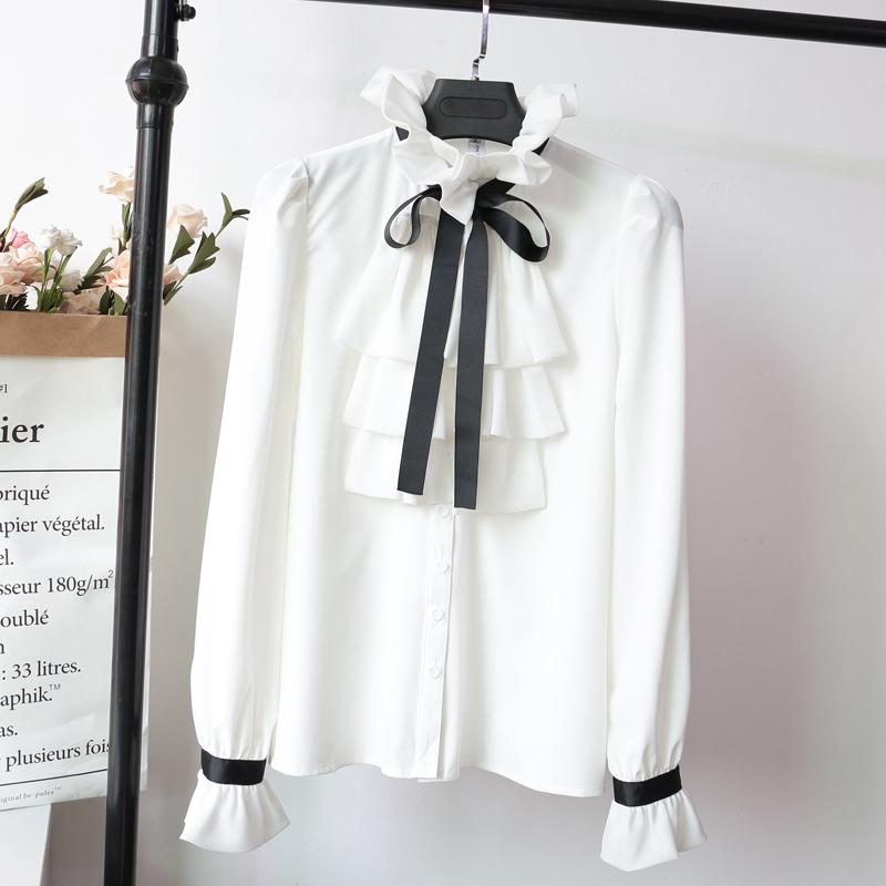 女式长袖衬衫 气质淑女OL风长袖蝴蝶结荷叶边白色衬衫女2020秋装新款很仙的上衣_推荐淘宝好看的女长袖衬衫