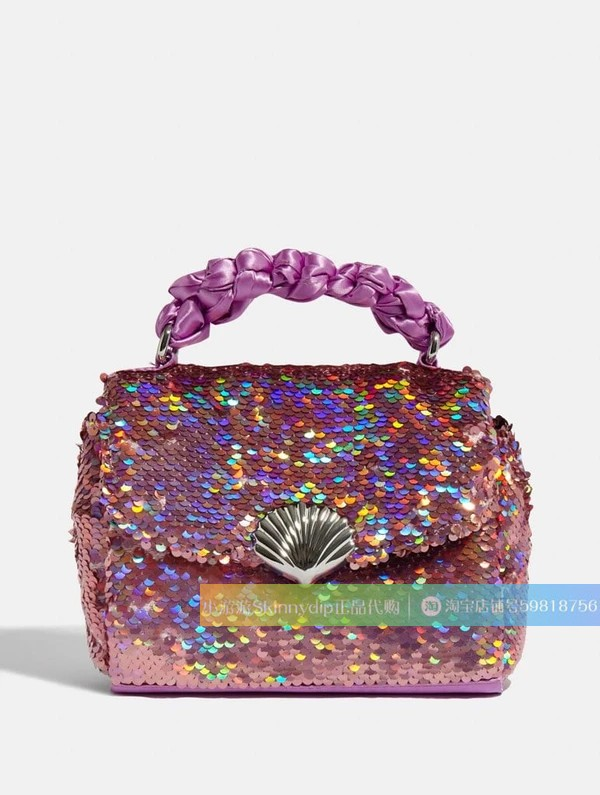 紫色贝壳包 正品直邮代购SKINNY DIP紫色缎面亮片美人鱼贝壳手提包单肩斜挎包_推荐淘宝好看的紫色贝壳包