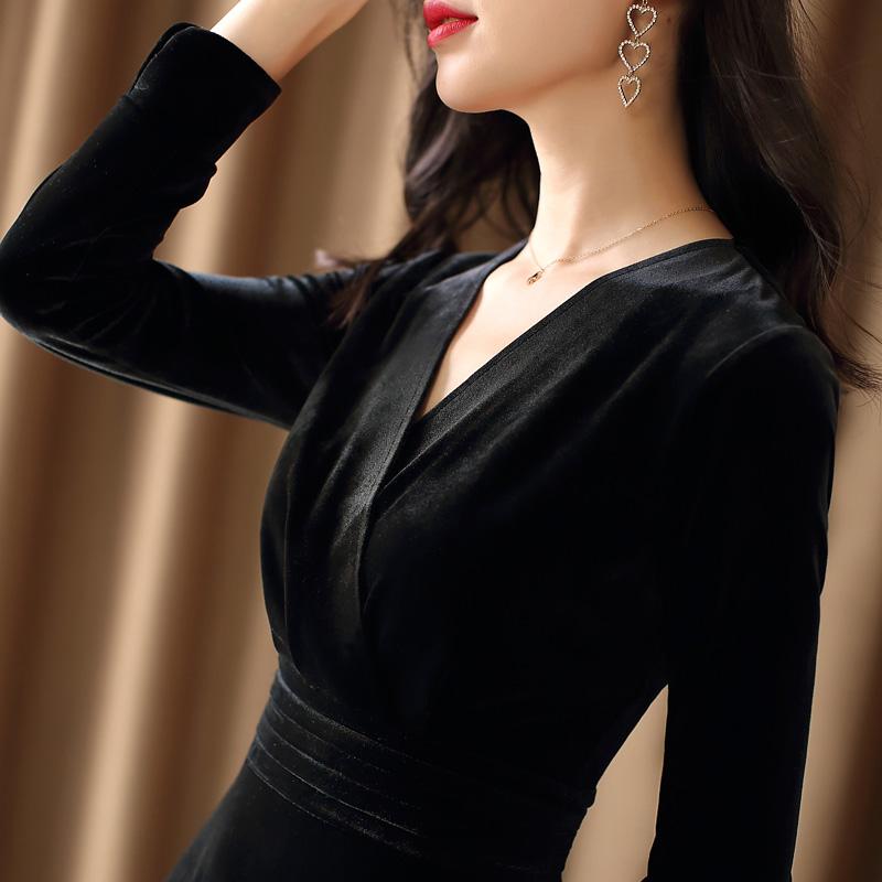 绿色连衣裙 黑色金丝绒连衣裙女2020秋冬新款高贵洋气收腰小黑裙显瘦气质长裙_推荐淘宝好看的绿色连衣裙