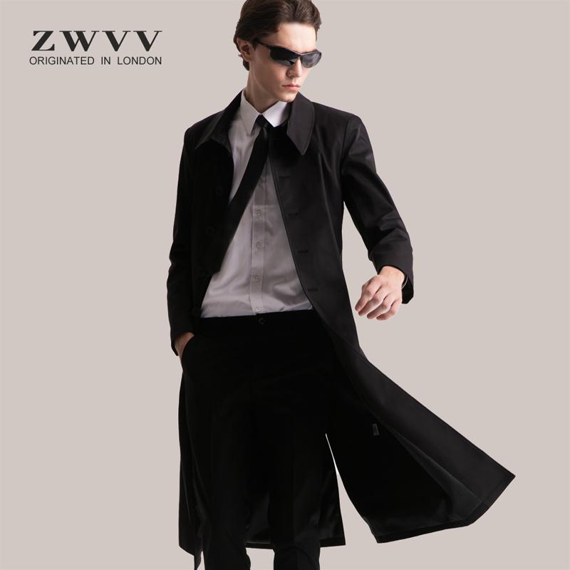 男士修身风衣 2021新款风衣男春秋男士修身长款过膝大衣英伦中长款时尚潮流外套_推荐淘宝好看的男修身风衣