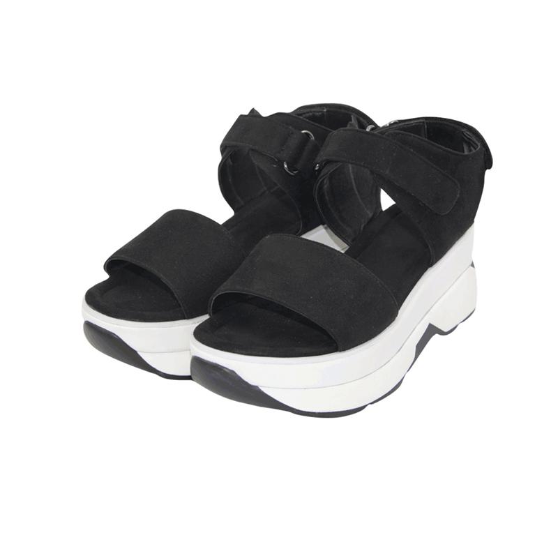 坡跟罗马鞋 新款chic女夏厚底松糕凉鞋高跟罗马学生运动休闲坡跟防水台绒面_推荐淘宝好看的坡跟罗马鞋