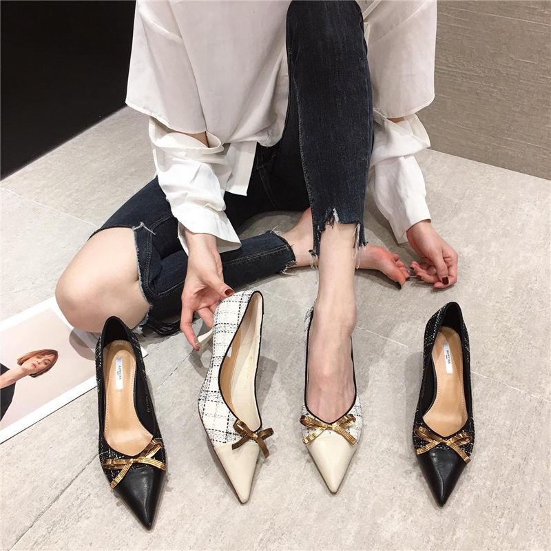 高跟尖头鞋 7小香风高跟鞋女2021年新款夏季百搭韩版女鞋蝴蝶结细跟尖头单鞋_推荐淘宝好看的高跟尖头鞋
