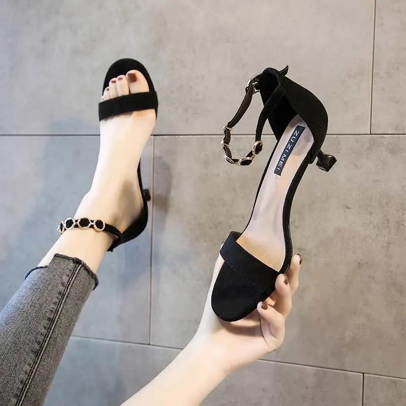 细高跟鞋 11夏季一字带凉鞋女2021新款时尚百搭高跟鞋细跟矮跟仙女风_推荐淘宝好看的女细高跟鞋