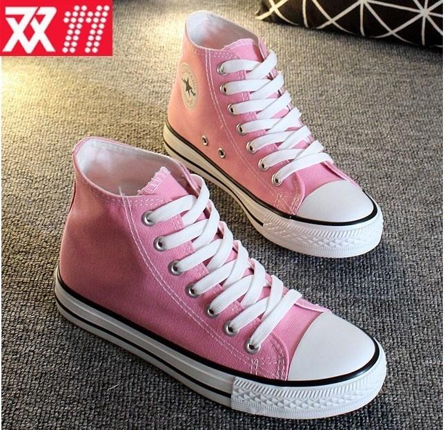 粉红色帆布鞋 浅粉色高帮女士帆布鞋韩版潮休闲粉红色学生高帮帆布鞋布鞋女。_推荐淘宝好看的粉红色帆布鞋