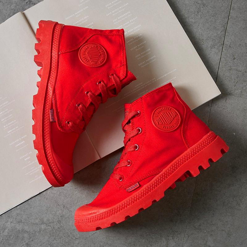 红色帆布鞋 帆布鞋女红色中高帮本命年可翻帮秋冬防滑牛津底短靴子英伦风网红_推荐淘宝好看的红色帆布鞋