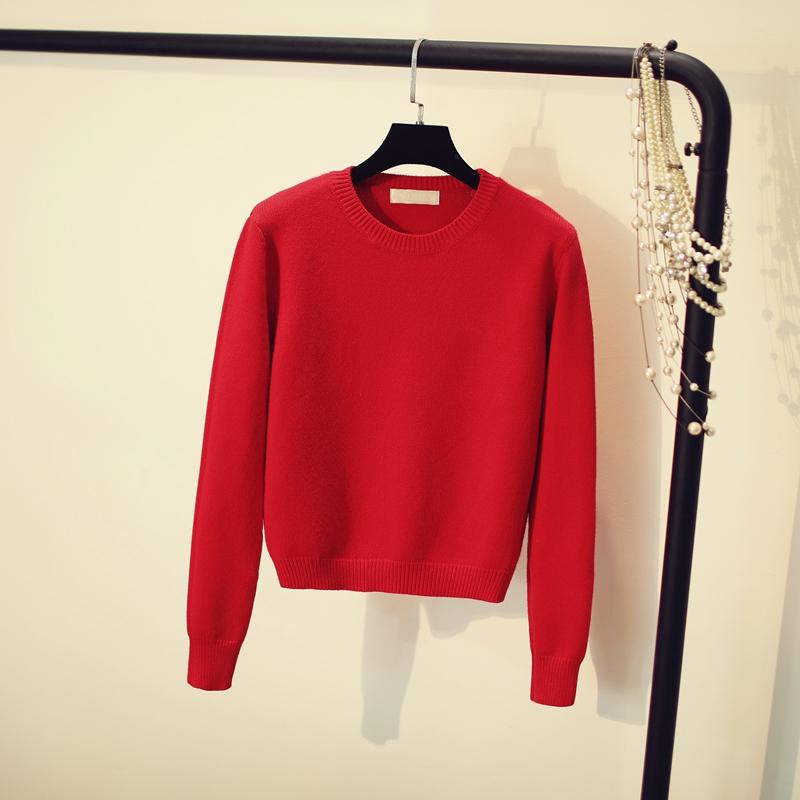 红色针织衫 红色毛衣女秋冬外穿套头2021新款上衣本命年加厚短款针织衫洋气潮_推荐淘宝好看的红色针织衫