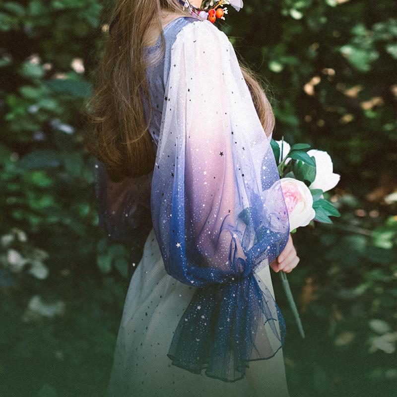 以纯牛仔连衣裙 弥爱原创设计 银河 仙女渐变纱星空婚纱连衣裙双层绑带灯笼袖长裙_推荐淘宝好看的以纯牛仔连衣裙