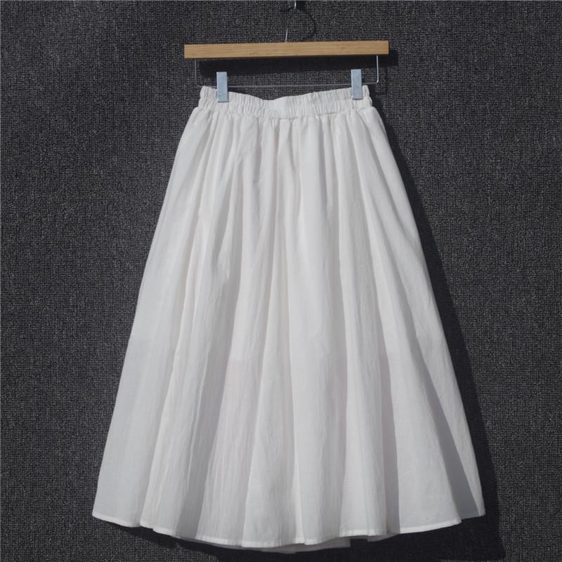 白色半身裙 自制2021年新款棉麻半身裙春夏纯色大摆白色长款高腰亚麻文艺裙子_推荐淘宝好看的白色半身裙