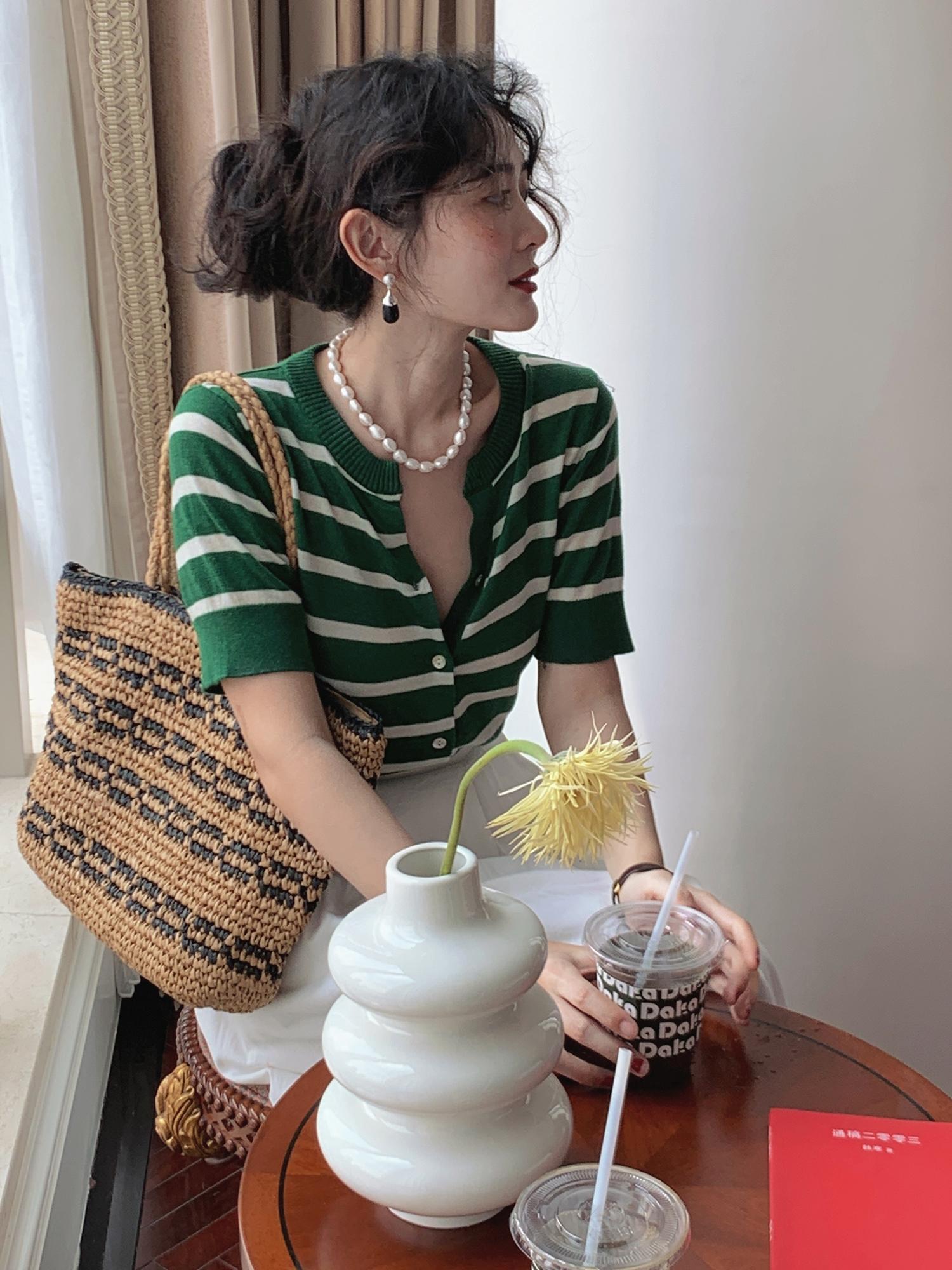 伊芙丽针织衫 条纹短袖针织开衫外套女夏季薄款法式复古修文伊芙丽墨_推荐淘宝好看的伊芙丽针织衫