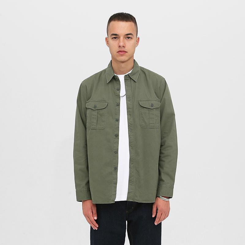绿色衬衫 PALAND 军绿色工装衬衫 原创全棉日系潮牌水洗夹克两袋衬衣_推荐淘宝好看的绿色衬衫