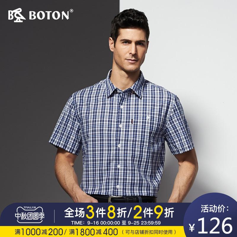 格子男式衬衫 波顿Boton男式格子衬衫中年显瘦深色休闲衬衣短袖打底衫MS753214_推荐淘宝好看的格子男式衬衫