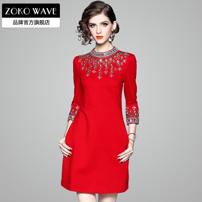 红色连衣裙 红色连衣裙秋冬裙子2020年新款新年过年喜庆女冬季女装气质本命年_推荐淘宝好看的红色连衣裙