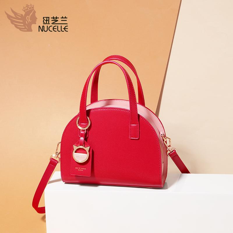 红色贝壳包 纽芝兰手提包包女2021新款时尚百搭单肩女士斜挎包红色结婚贝壳包_推荐淘宝好看的红色贝壳包