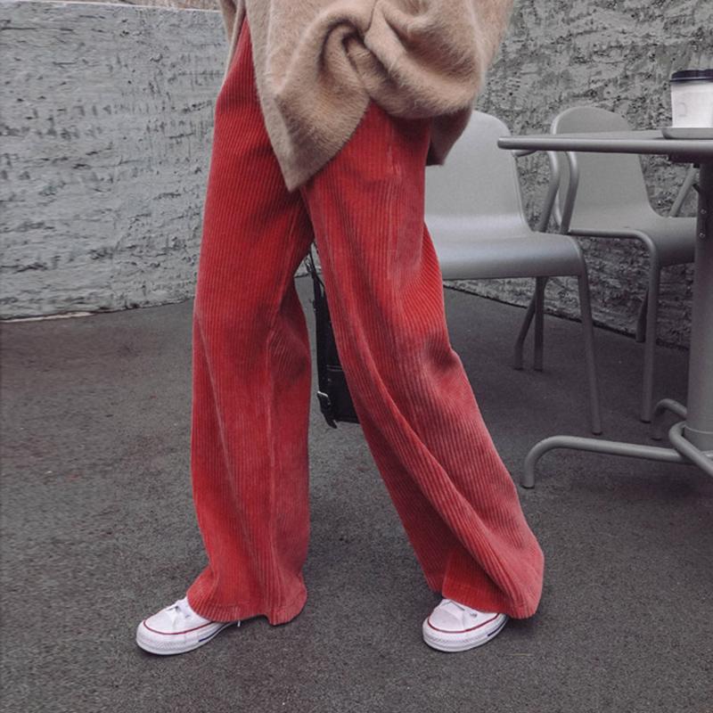 红色休闲裤 灯芯绒阔腿裤女2020秋冬新款宽松垂感高腰直筒条绒加绒休闲长裤子_推荐淘宝好看的红色休闲裤