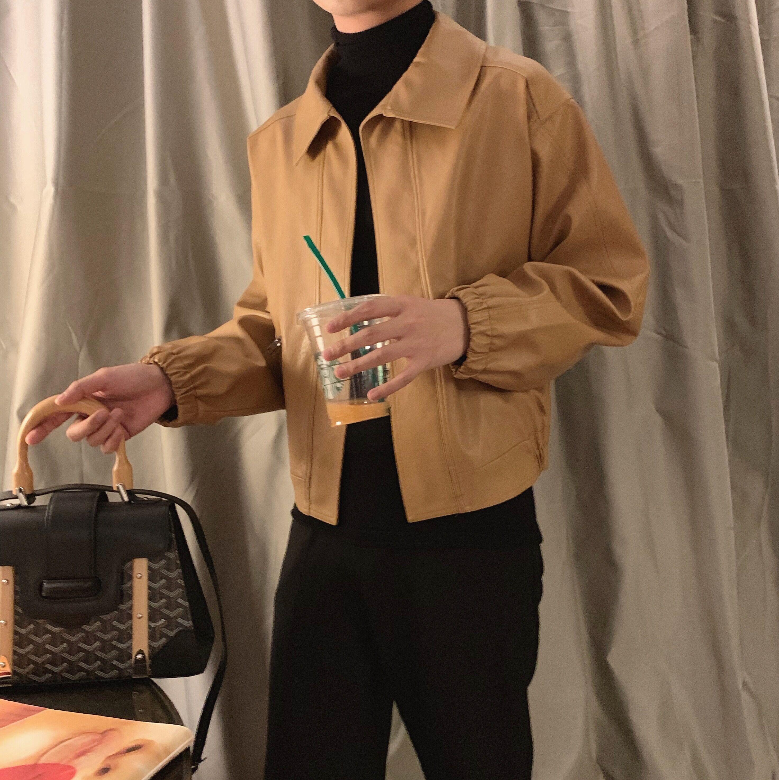 黄色皮衣 阿茶与阿古复古风短款皮衣男秋季韩版街头风气质棕黄色皮夹克外套_推荐淘宝好看的黄色皮衣