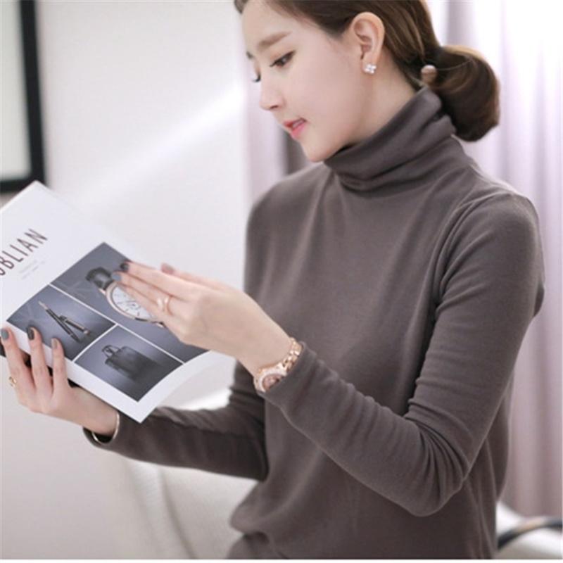 女士长袖t恤 2020秋季新款韩版高领长袖t恤女纯棉百搭修身显瘦纯色套头打底衫T_推荐淘宝好看的女长袖t恤