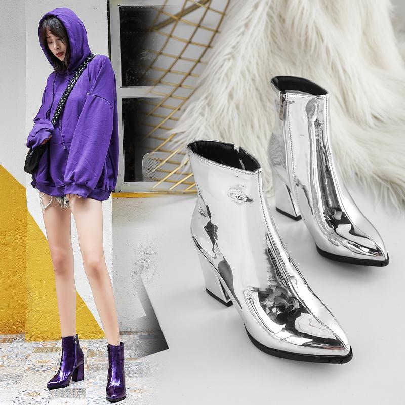 紫色高跟鞋 欧洲站紫色高跟鞋裸靴超高跟拉链尖头马丁靴秋冬漆皮银色金色女靴_推荐淘宝好看的紫色高跟鞋